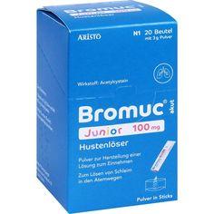 BROMUC akut Junior 100 mg Hustenlöser P.H.e.L.z.E:   Packungsinhalt: 20 St Pulver zur Herstellung einer Lösung zum Einnehmen PZN:…