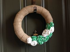 Burlap St Patricks Day Wreath with Green and White by ArtsyCoachB, $20.00