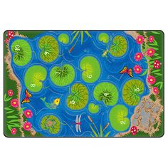Flagship Carpets' Hopscotch Pond Rug has an interactive design that builds early counting skills. Colorful pond with numbered lily pads. Pond Decorations, Hopscotch, Cool Rugs, Interactive Design, Classroom Decor, Kids Room, Preschool, Carpet, Lily