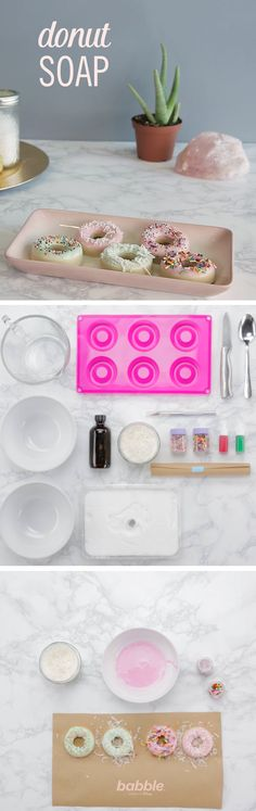 Who doesn't love adding subtle decor into their bathroom? This beautiful DIY Donut Soap is the perfect treat. It's totally customizable. Use a mix of colors and toppings, like mint green and pink frosting with coconut and sprinkles. Just please don't eat them!