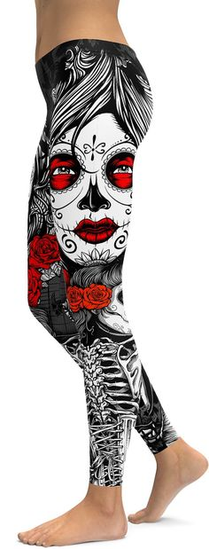 Skeleton Sugar Skull Leggings - GearBunch Leggings / Yoga Pants