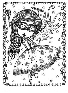 Downloadable Coloring Pages Funky Fairy by ChubbyMermaid on Etsy