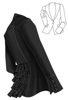 Ruffle Back Blazer/Jacket blk - want to sew something like this, but the jacket should be a bit longer :)