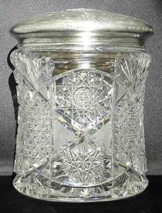 RARE American Brilliant Cut Glass Biscuit Jar with Sterling Lid Cut Glass, Glass Art, Fancy Kitchens, Crystal Glassware, Vintage Dishes, Carnival Glass, Glass Collection, Antique Glass, Candy Dishes
