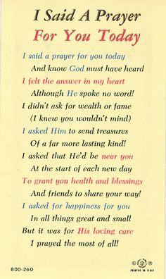 i said a prayer for you today | Watra Church Goods - I Said a Prayer for You Today Laminated Holy Card ...