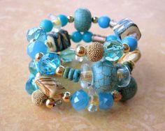 TURQUOISE Gold WRAP BRACELET Chunky Blue Tan by DawnofCreationArt, $28.00