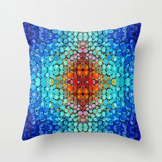#throwpillow #pillows Throw Pillow Abstract Mosaic Art Design Blue Home Colorful Primary Colors Decor Artsy Decorating Made Easy Living Room Bedroom Bedding