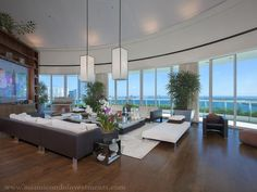 Living Room: Pharrell Williams' Miami Penthouse at Bristol Tower