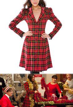 tartan coat, Jenna Ushkowitz, Glee