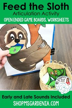 Feed the Sloth articulation activity for speech therapy from Ms. Gardenia's Speech Room on Teachers Pay Teachers. Game boards and worksheets included for take home practice. ShopMsGardenia.com #speechtherapy #animaltheme #australia #sloththeme #earlychildhood Articulation Therapy, Articulation Activities, Animal Activities, Speech Therapy Activities, Language Activities, Preschool Worksheets, Preschool Activities, Speech Language Therapy, Speech And Language