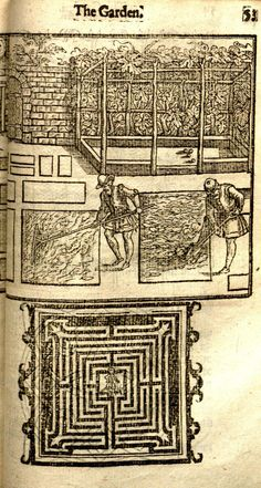 Diagram of a garden maze and an engraving of agricultural work from The Gardeners Labyrinth, 1594