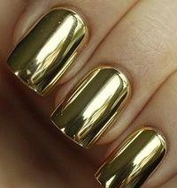 Image via Gold nails Image via Gold Nail Art Designs. Image via Wedding gold nails for Image via The Golden Hour - Reverse Glitter Gradient nail art: two color colou Crome Nails, Jolie Nail Art, Golden Nails, Gold Nail Polish, Metallic Nails, Metallic Gold, Solid Gold, Gold Foil, Acrylic Nails