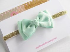 Baby/Girls Bow Headband Mint Bow with Gold Glitter by CharlieCocos, $8.95