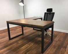 the industrial l shape carruca office desk - large executive desk