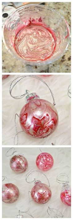 DIY Marbled Christmas Ornaments DIY Marbled Christmas Ornaments If you're into a handmade Christmas, you have to try these DIY Marbled Christmas Ornaments! They are so simple and make a huge impact! Homemade Christmas Gifts, Diy Christmas Ornaments, Christmas Balls, Christmas Art, Christmas Projects, Holiday Crafts, Christmas Holidays, Ornaments Ideas, White Christmas