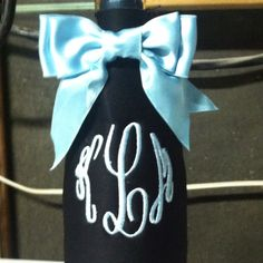 monogrammed wine bottle coozie! NEED THIS!!!