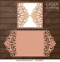 Cutout paper gate fold card for laser cutting or die cutting template. Suitable for greeting cards, invitations, menus. Cricut Wedding Invitations, Wedding Invitation Card Template, Invitation Mockup, Anna Griffin Cards, Pop Up Cards, Folded Cards, Greeting Cards Handmade, Royalty Free Images, Wedding Cards