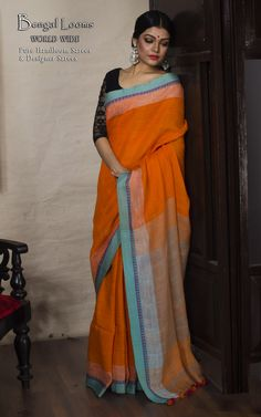 Beautiful Pure Handloom Orange Khadi Linen Cotton Saree.