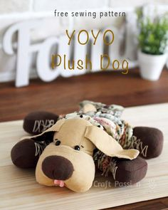 Free pattern for plush yo yo puppy.  Link to all templates needed.