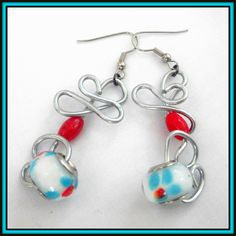 glass beads on twisted wire earrings