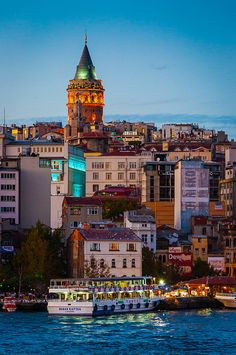 Galata Tower at dusk - Istanbul, Turkey (by Steven Johnson)