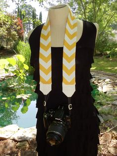 Yellow Chevron Camera Strap with Bow or Flower of choice. $30.20, via Etsy.