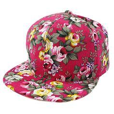 Women Girl Rose Flower Floral Print Snapback Bill Cap Pink