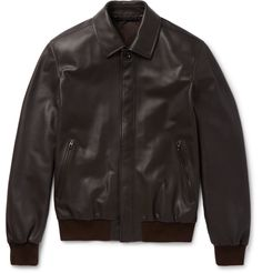 The blouson jacket achieved cult status when Mr James Dean wore one in the 1955 motion picture <i>Rebel Without a Cause</i>. Made in Italy, <a href='http://www.mrporter.com/mens/Designers/Caruso'>Caruso</a>'s chocolate version is cut from buttery leather and anchored with jersey trims that define its semi-fitted shape. The neat collar, zipped pockets and concealed fastenings enhance its clean-lined aesthetic. This pe...