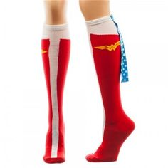 Wonder Woman Caped Boot Knee High Socks, sock size fits shoe size Officially licensed Wonder Woman socks featuring a print of Wonder Woman's boots with capes on the back. Disfraz Wonder Woman, Harley Quinn, Superman Dc Comics, Teen Boots, Best White Elephant Gifts, Wonder Woman Birthday, Capes For Women, Knee High Socks, High Boots