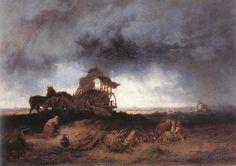 Mihály Munkácsy ~ Storm op de poesta ~ 1867 ~ Olieverf op doek ~ x 131 cm. Art Database, Hanging Art, Great Artists, Marvel, Art Prints, Landscape, Drawing, Gallery, Hungary