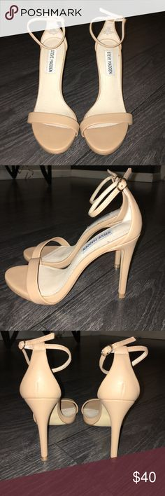 Steve Madden Beige Heeled Sandals Great Condition. Only worn once. Steve Madden Shoes Heels