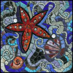 Tidepool Abstract Mosaic Artwork Glass, beads and mirror.