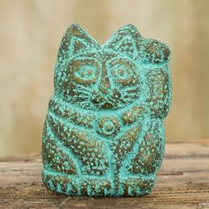 NOVICA Japanese Lucky Cat for Good Business Recycled Paper Magnet (1.240 RUB) ❤ liked on Polyvore featuring home, home decor, office accessories, clothing & accessories, green, sculpture, novica and paper sculpture