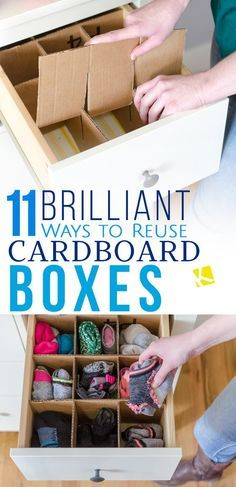 11 Awesome Ways to Repurpose an Empty Cardboard Box is part of Diy drawer dividers - Don't toss those empty cardboard boxes! From DIY drawer dividers and craft projects, to kids playhouses, cardboard boxes have so many amazing new uses
