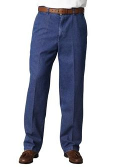 Haggar Stonewash Classic-Fit Work To Weekend8482 Flat-Front Denim Non-Iron Pants