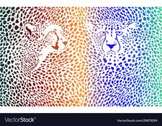Cheetahs color background with heads vector image on VectorStock Cheetah Skin, Two Heads, Free Vector Illustration, Cheetahs, Birds In Flight, Adobe Illustrator, Vector Free, Royalty, Africa