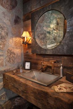 This traditional barn home offers plenty of Western rustic charm, designed by Dubbe Moulder Architects along with architect Mark Rios, of Rios Clementi Hale Studios, located in Utah. Modern Barn, Modern Rustic, Rustic Style, Modern Classic, Rustic Powder Room, Powder Room Design, Sink Design, Rustic Elegance, Rustic Barn