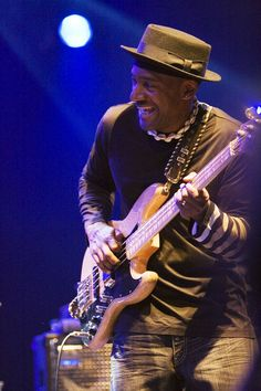 Marcus Miller, listen to duet on Eric from album Tales, guitar and bass having a conversation.