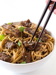 20 Minute Beef Teriyaki Noodles. Tender stir fried flank steak and noodles tossed in a homemade teriyaki sauce!
