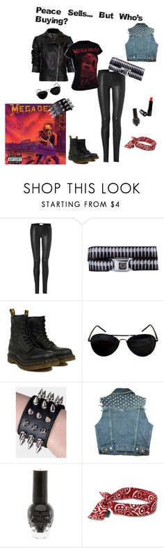 """""""Peace Sells... But Who's Buying?"""" by carolinadimas ❤ liked on Polyvore featuring Helmut Lang, Buckle-Down, Dr. Martens, Gee Beauty, Hot Topic, Ergodyne and megadeth"""