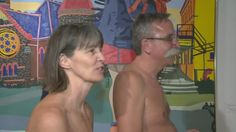 A group of naturists stripped down to take a peek at TheMuseum's new exhibit on nakedness and nudity.