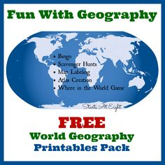 Fun With Geography ~ FREE Geography Printables is a collection of all my World Geography Printables (+ BINGO) to help make learning more fun and hands on! World Geography Games, Geography Lesson Plans, Geography Activities, Geography For Kids, Geography Map, Teaching Geography, Teaching History, History Education, Basic Geography