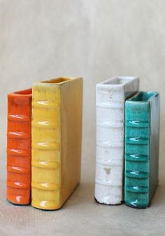 Literary Adventure Bookends Not crochet books.but your gonna need bookends for all those books! Ceramic Pottery, Ceramic Art, Ceramica Exterior, Into The Fire, Ceramics Projects, Book Nooks, Kitsch, Vases, Bookends