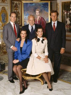 An official portrait of the Royal Family of Monaco. Prince Albert (left) Prince Rainier (center) Stefano Casiraghi (Caroline's husband, right) Princess Stephanie and Princess Caroline