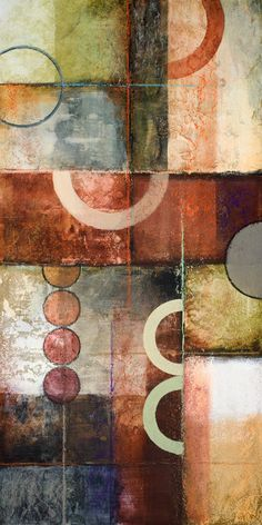 Contemporary geometric abstract painting with circles & rings.