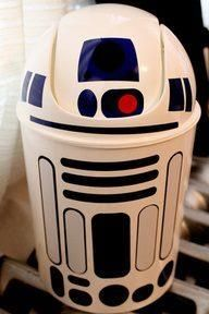 R2D2 to the rescue. Take a plain white garbage can, add some duct tape to create an R2D2 garbage can for your child's room or Star Wars collection display room