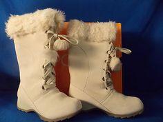 NIB Sporto® Lila Waterproof Suede Tall Boot with Pom Poms Winter White 6M