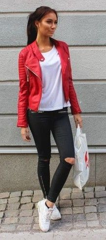 Red Biker Jacket, White Tee, Black Ripped Jeans, White Sneakers | Emilia Angergard