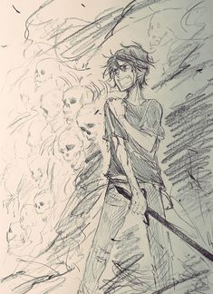 Nico di Angelo commanding a dead army to fight for him in battle after he got hurt. Percy Jackson Fan Art, Percy Jackson Fandom, Percy Jackson Characters, Percy Jackson Books, Rick Riordan Series, Rick Riordan Books, Will Solace, Solangelo, Percabeth