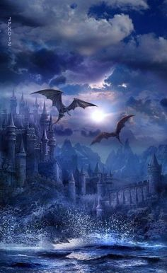 Dragons Over Castle gaming games images pictures screenshots GameScapes GamingShot concept digital art VistaLore daily pics beauty imagination Fantasy 3d Fantasy, World Of Fantasy, Fantasy Places, Fantasy Kunst, Fantasy Landscape, Fantasy Artwork, Dark Fantasy, Magical Creatures, Fantasy Creatures